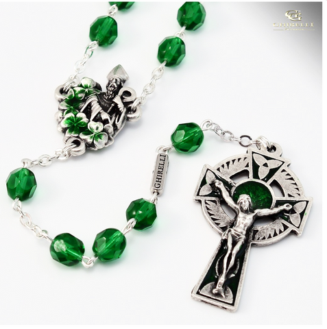 "Saint Patrick Silver Plated Irish Rosary Saint Patrick banishing the snakes"" By Ghirelli"