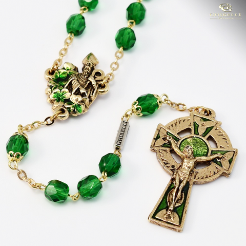 Saint Patrick Gold Plated Irish Rosary By Ghirelli
