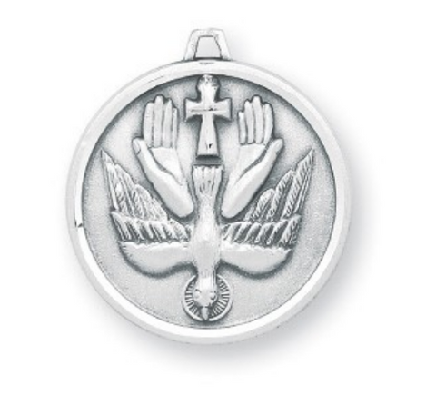 Holy Spirit Sterling Silver Trinity Medal On Chain Unique Style Cross Dove And Hands