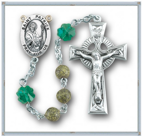 Sterling Silver Saint Patrick Rosary With Genuine Side Stone Beads