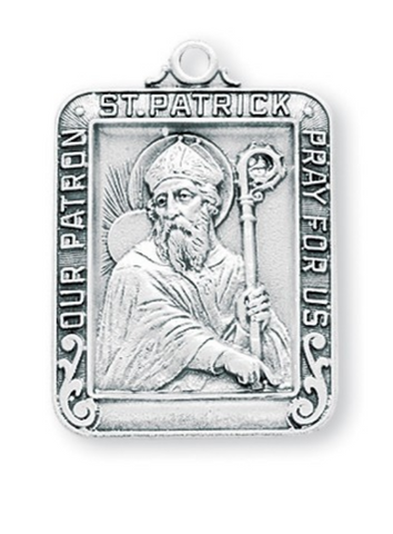 Saint Patrick Sterling Silver Medal On Chain