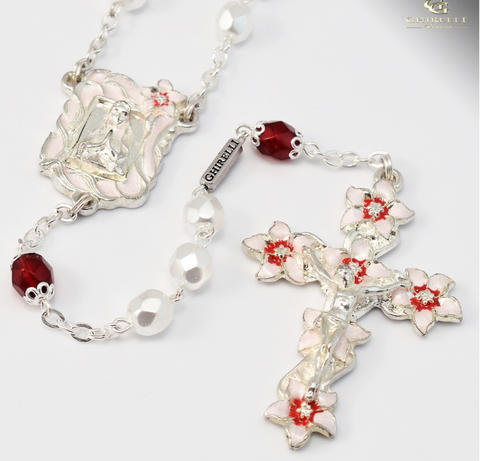 Our Lady Of Lourdes Pink Silver Plated Rosary By Ghirelli