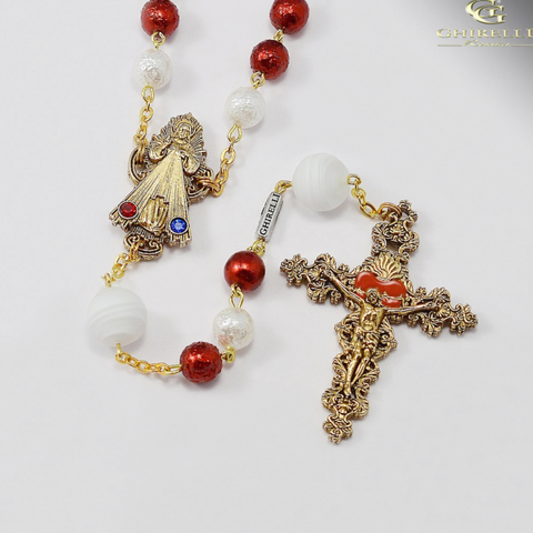 Divine Mercy Of Jesus Rosary with Murano Glass by Ghirelli