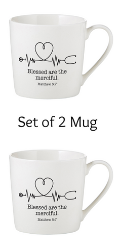 Blessed Are The Merciful Mugs Set of 2