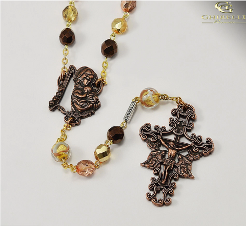 Madonna And Child Rosary for Women in Antique Copper by Ghirelli