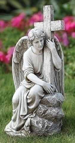 Seated Male Angel Holding Cross Memorial Or Garden