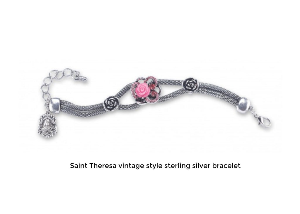 Vintage Style Saint Theresa Bracelet Sterling Silver With Pink Porcelain Rose