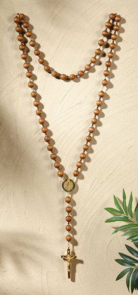 "Beautiful Saint Benedict Large Size Wall Rosary 47"" Long"