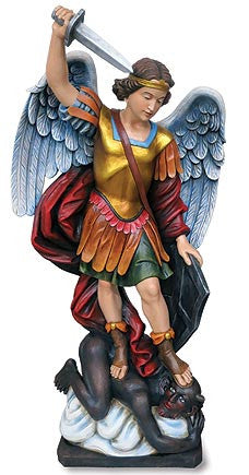 "Saint Michael the Protector Church Statue - Val Gardena Church Statue   49 1/4"" Tall"