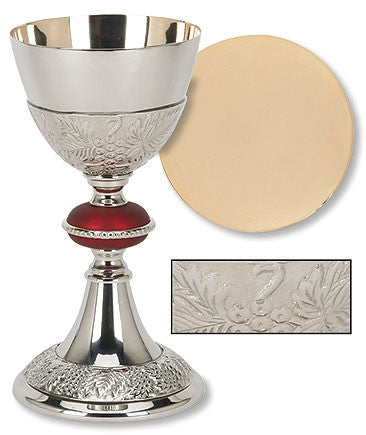 Grape Communion Chalice With Red Node and Paten Set
