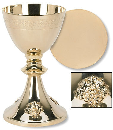 Chalice and Paten Set With Grape Cluster Design