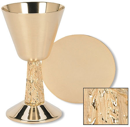Gold Plated Satin Cup with Hand Cast Vine Stem Chalice and Paten Set