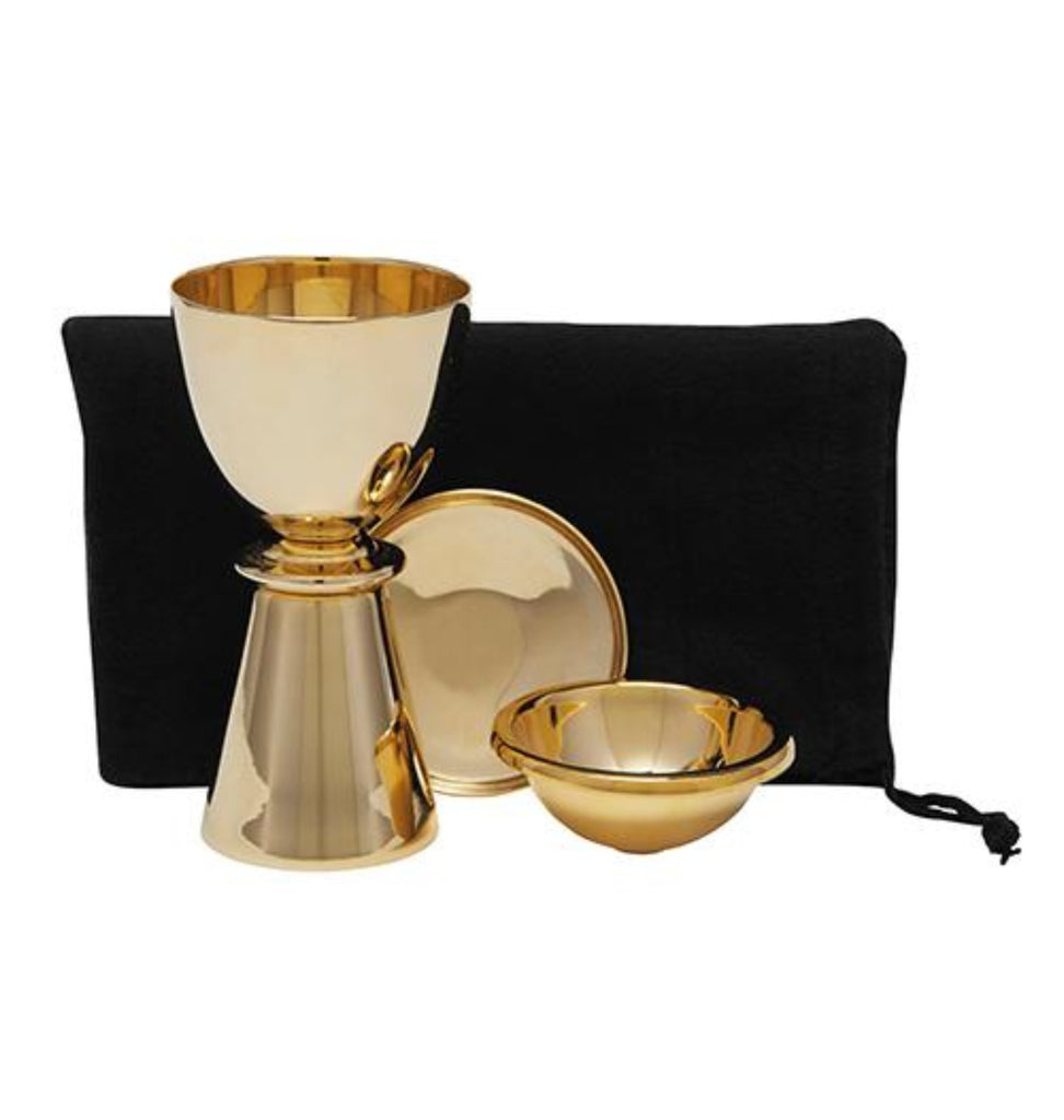 Chalice travel set in brass