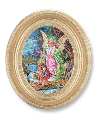 Guardian Angel With Children Print In Gold Leaf Frame