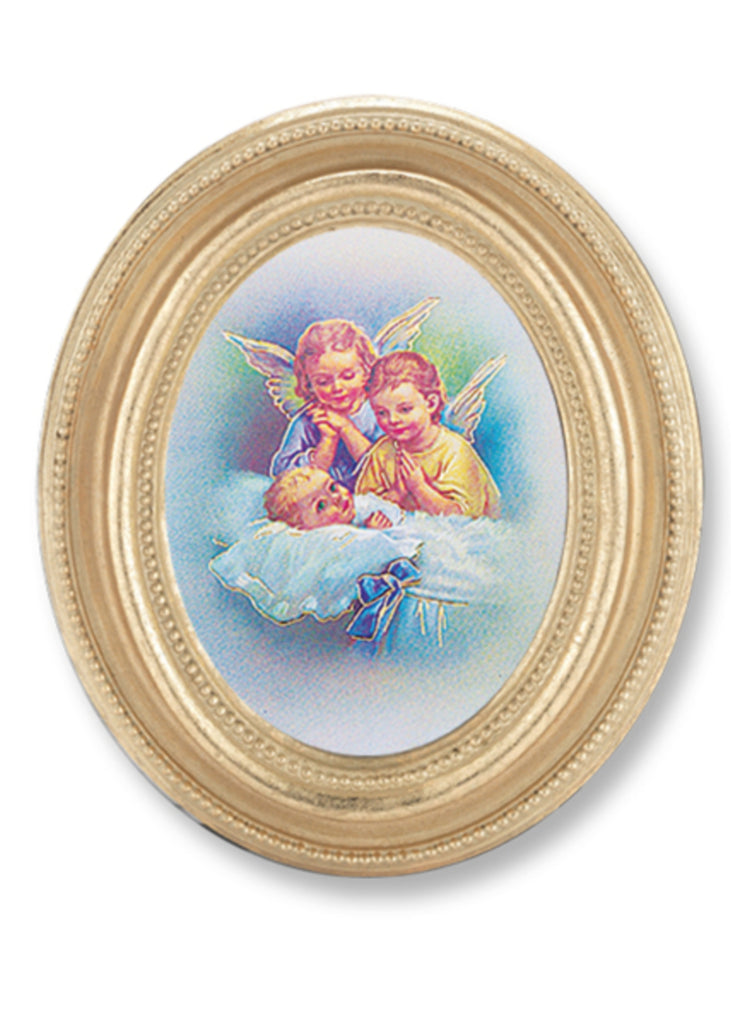 Guardian Angels Italian Gold Stamped Print under Glass in Gold Leaf Frame.