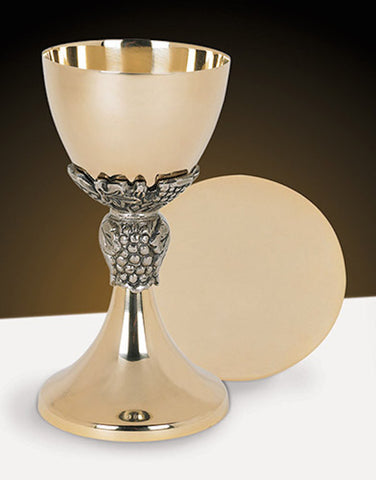 Grapes And Leaf Gold Communion Chalice And Paten Set