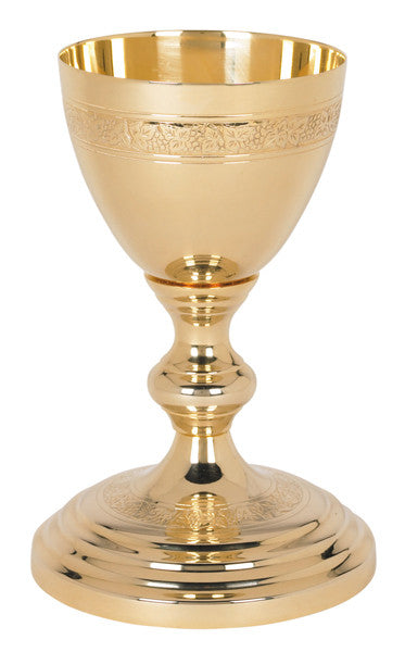 Etched Communion Chalice 24 KT Gold Plated Church Altar