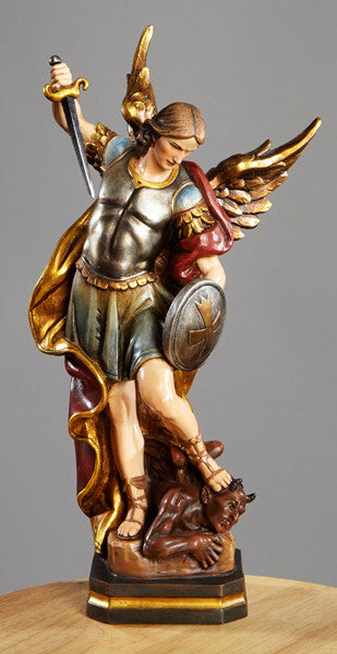Saint Michael Fighting with Shield Statue Val gardena collection