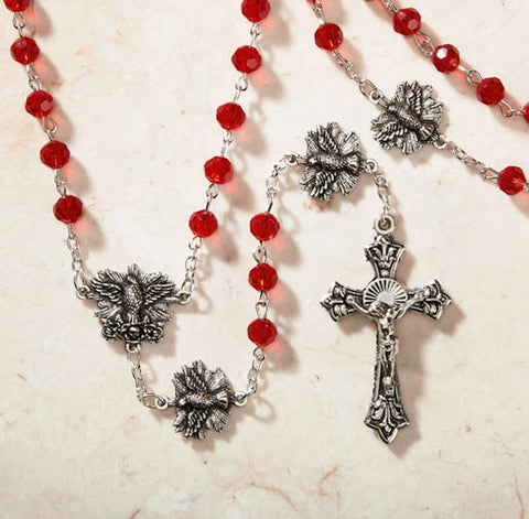 Confirmation Red Crystal Bead Rosary With Holy Spirit Paola Carola Collection