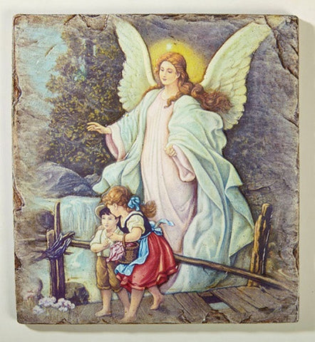 Guardian Angel With Children Icon Plaque By Artist Marco Sevelli