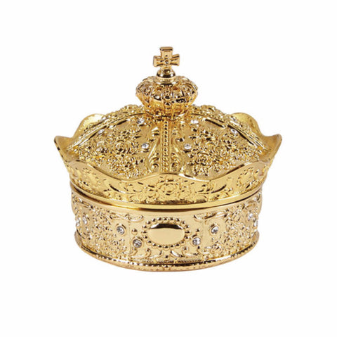Gold Crown Wedding Quinceanera Or Silver Plated Gold Tone Treasure Box with 13 Piece Arras Coin Set