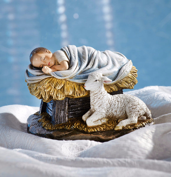God's Gift Of Love Baby Jesus With Lamb Statue
