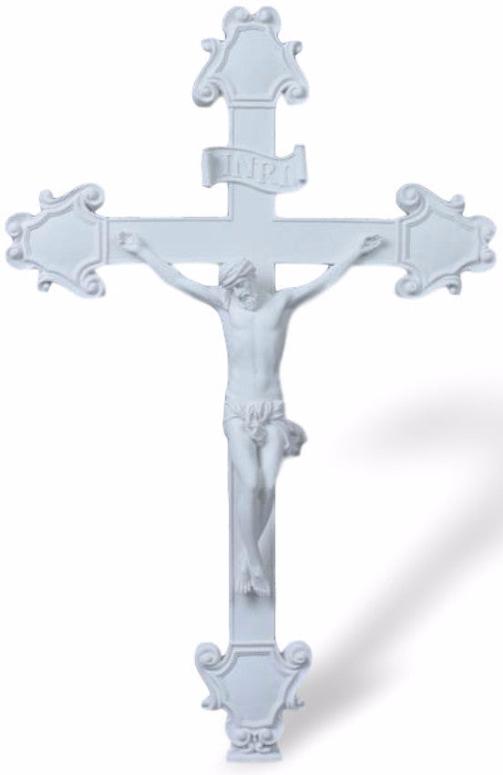 Jesus White Budded Wall Crucifix Veronese Collection