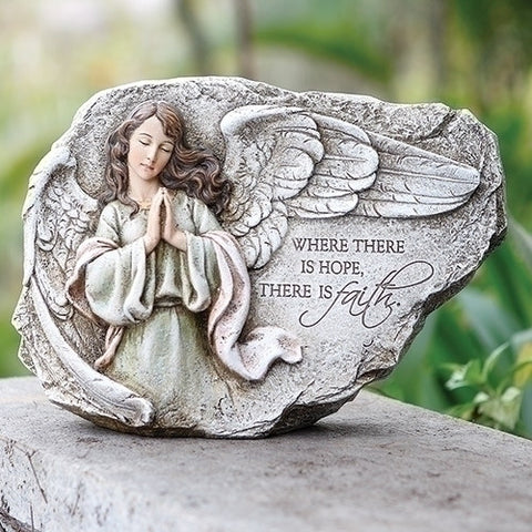 Guardian Angel Garden Stone Where There is Hope There Is Faith