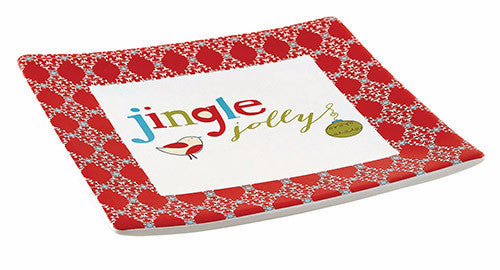 "Jingle Jolly Tidbit Plates Ceramic 5"" SQ -  Christmas Gift"