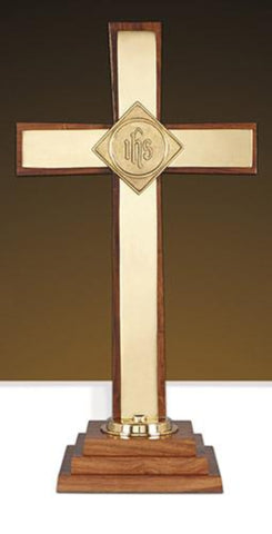 Altar Cross with IHS Emblem On Wooden Base Large 24 Inch Tall