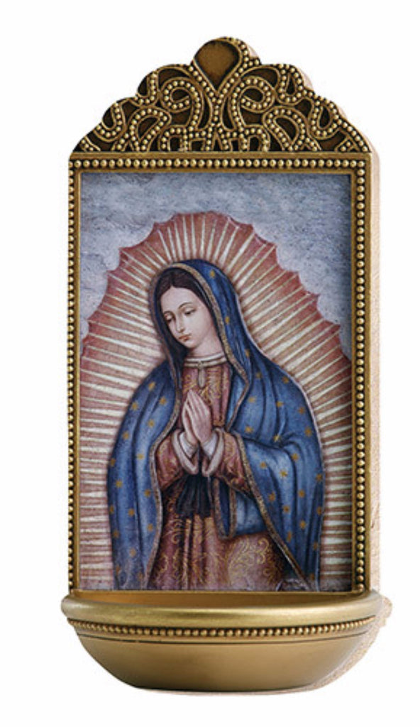 Our Lady of Guadalupe Holy Water Font For Chapel Or Home