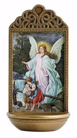Guardian Angel With Children Holy Water Font For Chapel Or Home