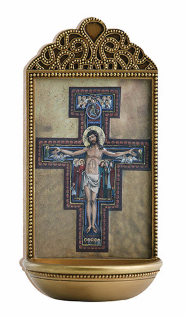 San Damiano Cross Holy Water Font For Chapel Or Home
