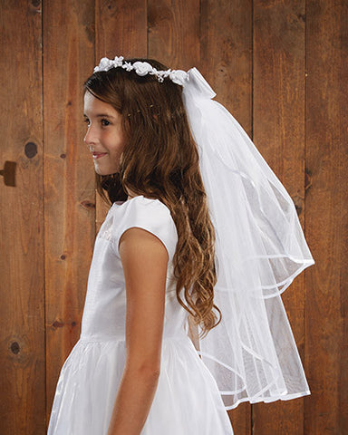 First Communion Girls White Floral Tiara  Veil