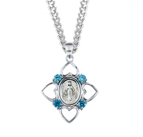 Aqua Cubic Zircon Pendant With Sterling Silver Miraculous Medal