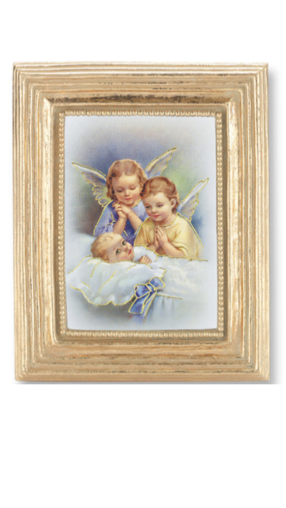 Guaridan angels with baby print in gold frame with glass