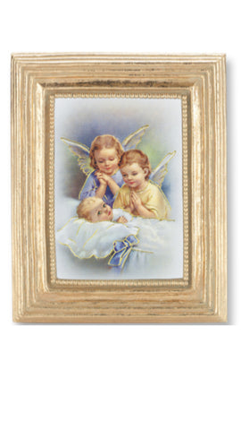 Guardian Angels With Baby Gold Frame