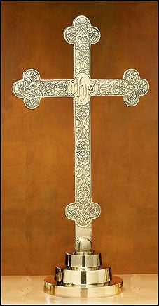 "Budded IHS Solid Brass Altar Cross 22 3/4"" Tall"