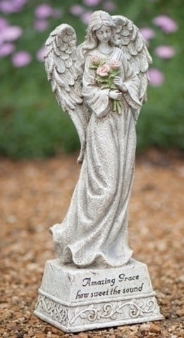 Memorial Angel With Roses Statue Amazing Grace Garden Home Chapel Gravesite SOLD OUT