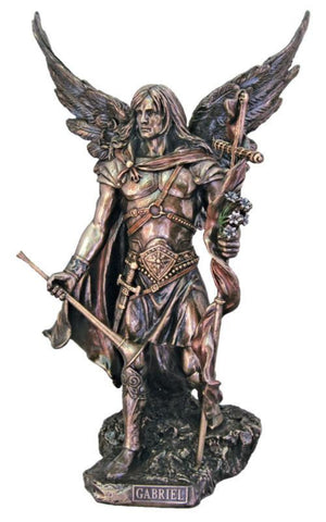 "Archangel Gabriel Statue Bronze Style Veronese Collection Large 14"" Tall"