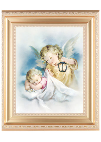 Guardian Angel Watching Over Baby With Lamp Print In Satin Gold Frame