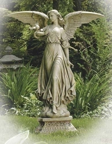 Angel On Pedestal Garden Statue Extra Large Size 48""