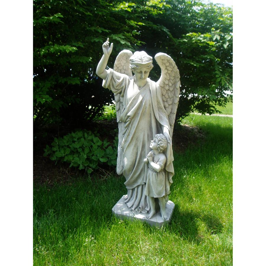 Guardian angel and child garden memorial statue