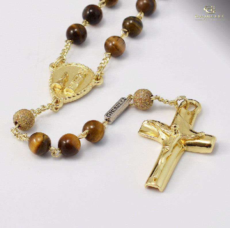 Tiger's Eye & Sterling Silver Precious Rosary Gold Plated Finish   By Ghirelli