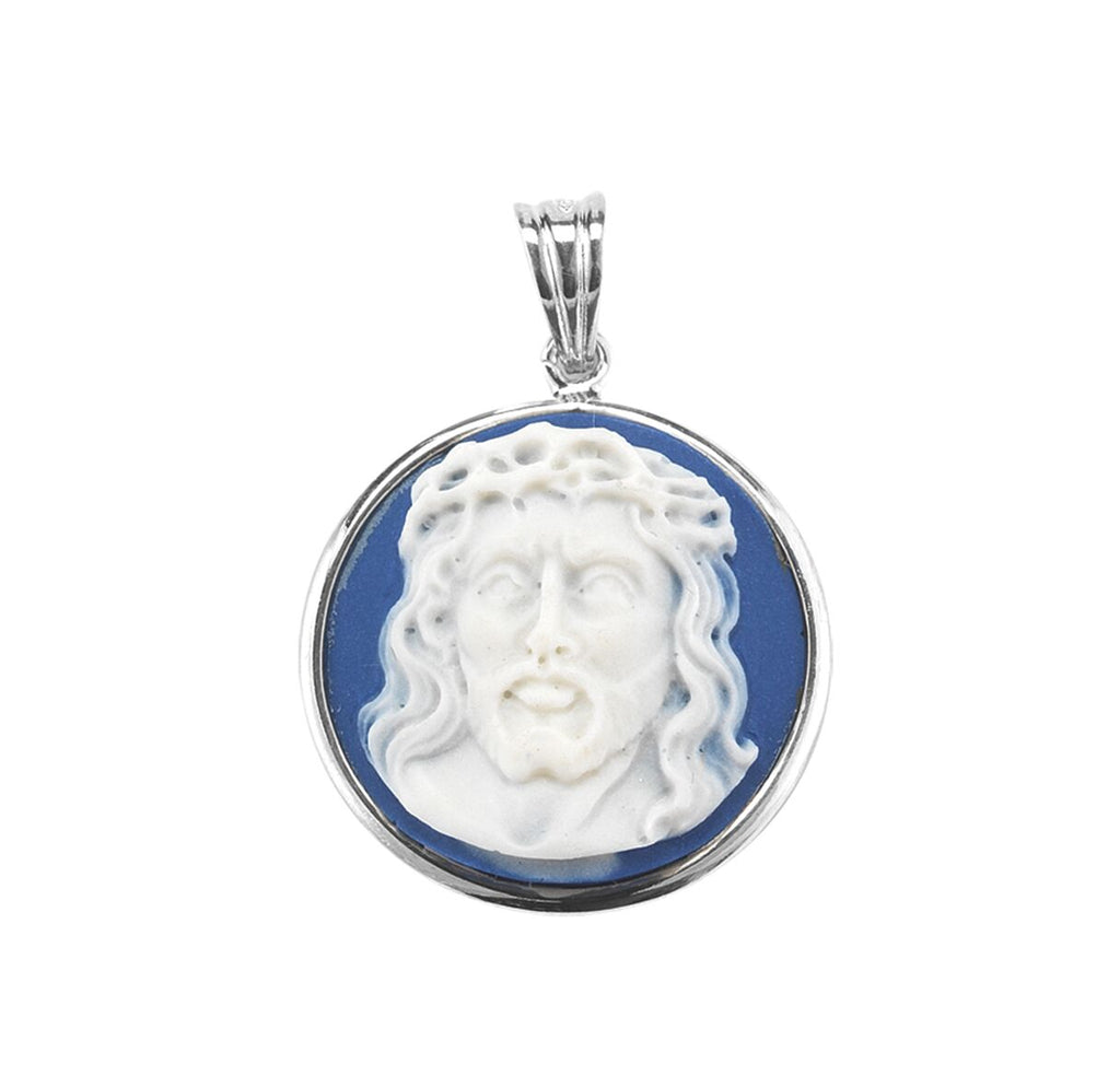 Head of Christ Light Blue Cameo Medal