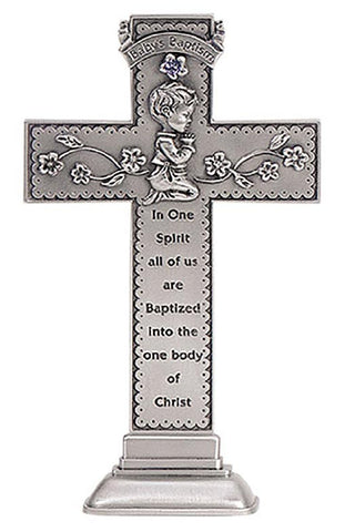 Baby Baptism Little Boy Standing Cross