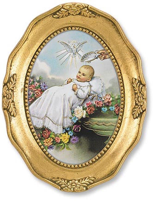 Baptism Blessing Print In Ornate Gold Frame