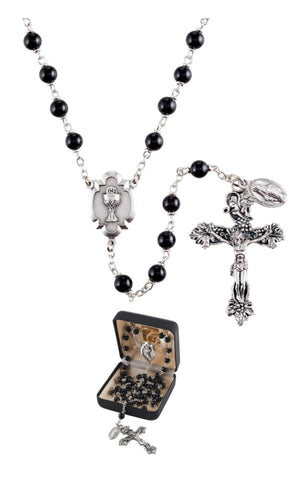 Boys Black First Communion Rosary