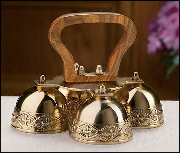 Brass Embossed Church Bells With Wooden Handle - 4 Bells