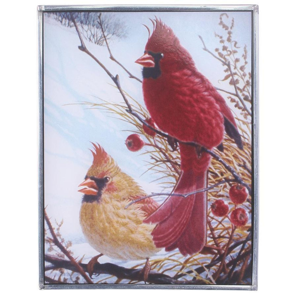 Windy Winter Cardinal Glass Bird Art